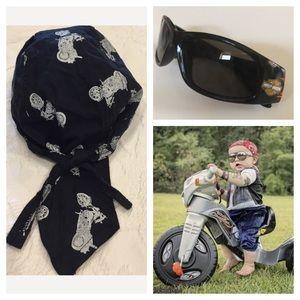 Biker Skull Cap & Sunglasses
